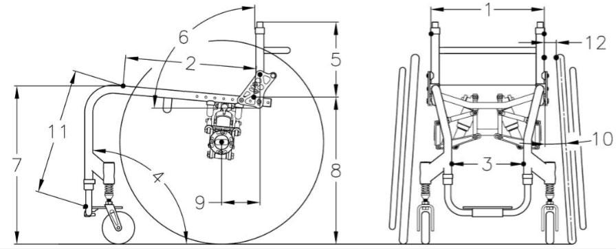 Wheelchair design angles illustration